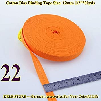 The narrowest The Least Size:12mm,Width:1//2,30yds DIY Handmade sewning Material 100/% Cotton Bias Binding Tape Color: 31 Light Yellow DalaB