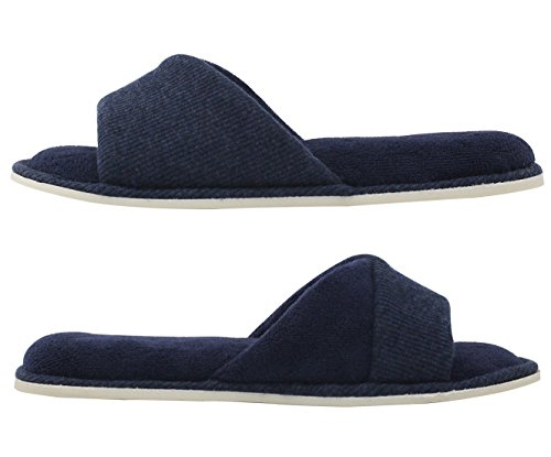 HomeIdeas Womens Open Toe Terrycloth Slide House Slippers With Comfy Velvet Lining, Spring Summer Memory Foam Indoor Shoes Navy Blue
