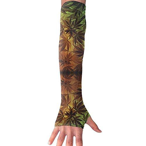 (Cannabis Sativa UV Sun Protective Outdoors Stretchy Cool Arm Sleeves Warmer Long Sleeve Glove)