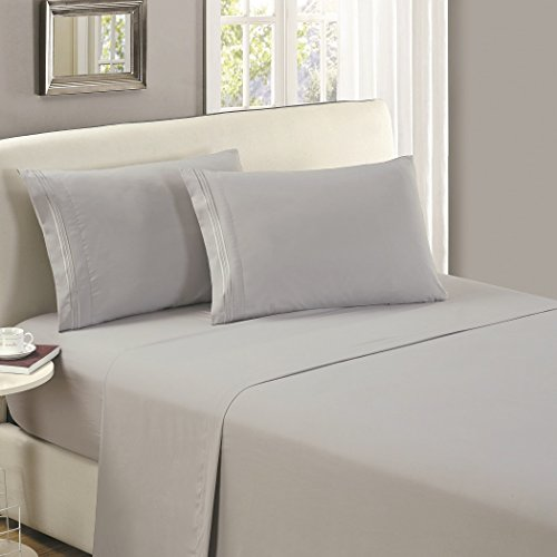 Mellanni Flat Sheet Twin Light-Gray Brushed Microfiber 1800 Bedding Top Sheet - Wrinkle, Fade, Stain Resistant - Hypoallergenic - (Twin, Light - Stain Resistant Light