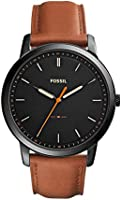 Fossil Minimalist men's black dial leather watch FS5305