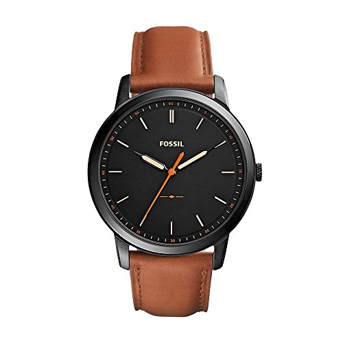 Fossil Men's The Minimalist Quartz Stainless Steel and Leather Casual Watch, Color: Black, Brown (Model: FS5305) - Fossil Mens Brown Leather