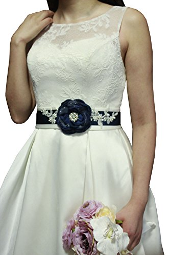 Lemandy Gorgeous Floral Handmade Flowers Sashes with Vintage Crystal Decoration in Middle for Wedding Dresses in 5 Colors (Navy) (Floral Belt)