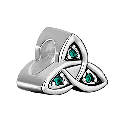 ReisJewelry Heart Best Friend Irish Claddagh Celtic Trinity Knot Charm Green Crystal Charms For Bracelet (Celtic Trinity Knot)