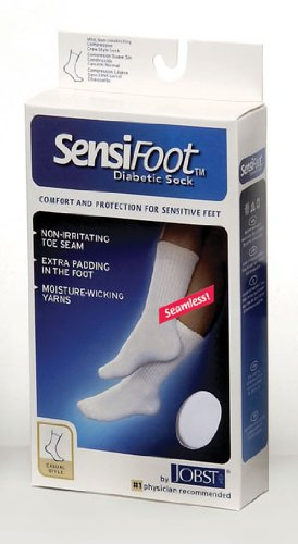 SensiFoot 8-15 mmHg Unisex Crew Length Diabetic Mild Support Sock Size: Medium, Color: Black