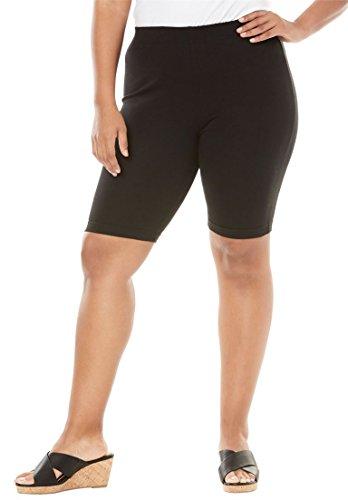 - Roamans Women's Plus Size Essential Stretch Bike Short - Black, 1X