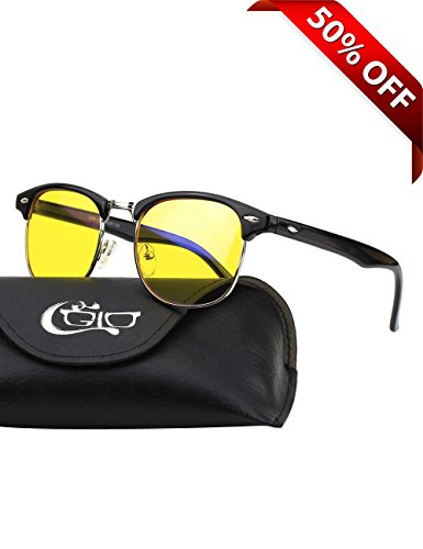 CGID CY56 Horn Rimmed Clubmaster Blue Light Blocking Glasses,Better Sleep, Anti Glare Fatigue Blocking Headaches Eye Strain,Great for Computer/Phone Readers,Black Frame,Yellow - Sunglasses Screen Computer