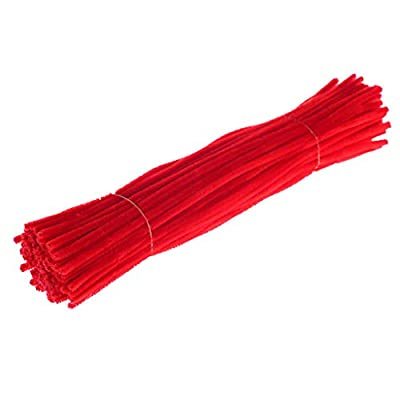 KANGMOON 14 Colors Pipe Cleaners Crafts Set, Pipe Cleaners Chenille Stem and Pompoms for Craft DIY Art Supplies, 100 Pieces (Red): Home & Kitchen