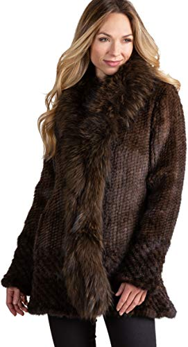 Overland Sheepskin Co Ruby Knitted Mink Fur Jacket with Raccoon Fur Brown
