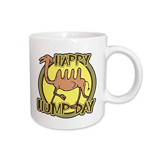 3dRose Funny Happy Hump Day Camel Cartoon Design Ceramic Mug, 11-Ounce