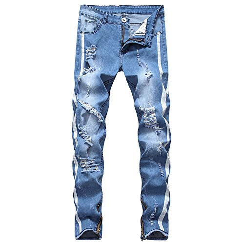 Men'sold Fashioned Hole Jeans Makes Old Personality Hollow Jeans Letter Printed Pant Size S-4XL (XXXL, Blue)