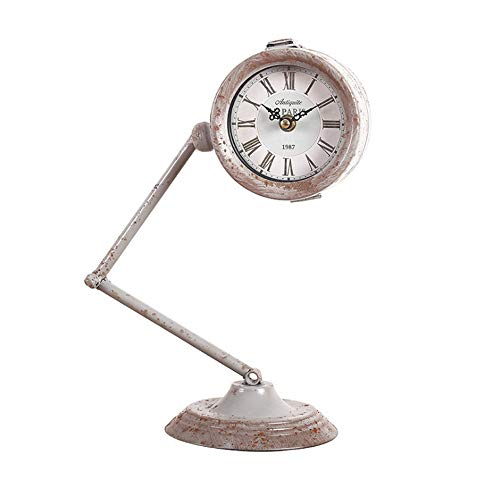 HSOMiD Creative Retro Industrial Table Lamp Clock Table Lamp Lantern Clock Ornaments for Office and Living Room(1 pcs) (12.5 x 5.7 inch)
