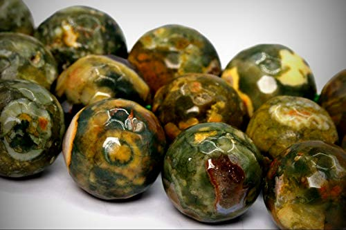 Approx.30 Beads Lot - 12mm Rainforest Rhyolite Rhyolite Beads AA Micro Feacted Round Loose Jewelry Making Beads 15