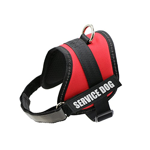 FAYOGOO Dog Vest Harness for Service Dogs, Comfortable Padded Dog Training Vest with Reflective Patches for Large Medium Small Dogs (RED, XS)