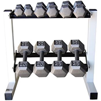 Amazon Com Cap Barbell Solid Hex Dumbbell Set With Rack
