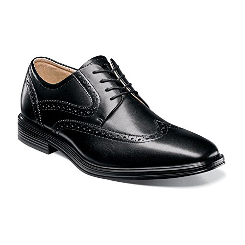 Oxford Florsheim Heights Leather Smooth Wingtip Black Men's qBxxntSwUR