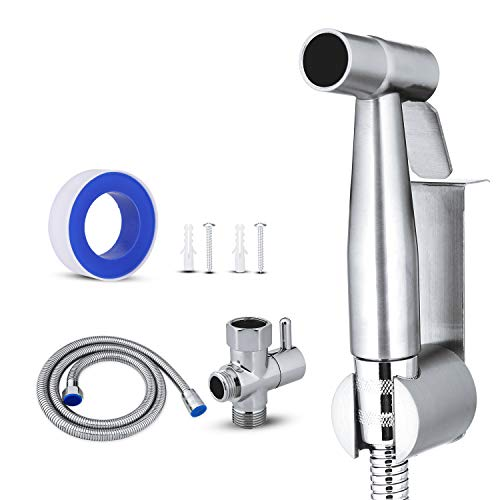 YOOMALL Stainless Steel Sprayer Kit Smarter Handheld Bidet Spray for Toilet Cloth Diapers Multiple Use Complete Components ()