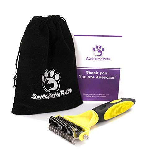 AwesomePets - Dog and Cat Brush, Rake and Comb for Dematting, Shedding Or Grooming for Short and Long Haired Dogs, Cats and Pet with Fancy Velvet Pouch (Best Brush For My Dog)