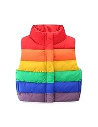 Mud Kingdom Cute Little Girl Puffer Vest Jacket Rainbow