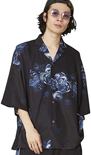 バラ柄アロハシャツ 総柄開襟シャツ UR-652