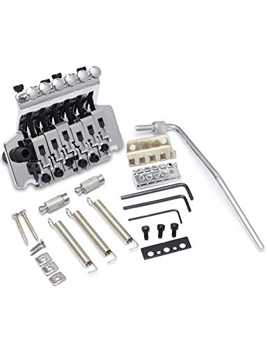 (Metallor 6 String Tremolo Bridge Tailpiece Double Locking System Assembly with Tremolo Arm for Floyd Rose Parts Replacement Chrome.)