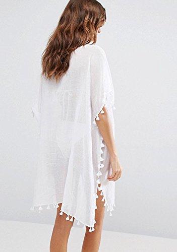 Chiffon de de up Cover Baño Encaje Vestido PIN Cuello para Blanco Beach Bikini Vestido Traje V Mujeres LATH Lace Playa Modo wXqPq1TFdW