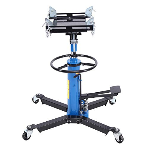 Honhill 1100lbs Telescopic Transmission Jack Adjustable Height 2 Stage Hydraulic 360° Swivel Wheel Lift Hoist 0.5Ton ()