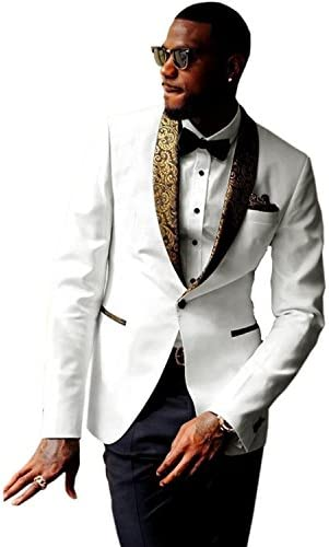 Men Premium Jacquard Paisley Shawl Lapel Tuxedo Yellow Wedding Suit Groom Blazer