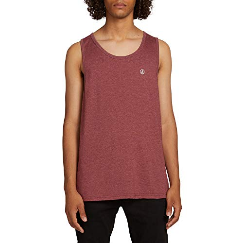 Volcom Men's Solid Heather Tank Top Shirt, Crimson, Medium (Volcom Tank Tops)