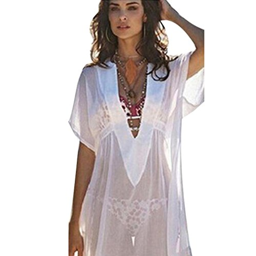 - Pengy Women Short Sleeve Deep V Neck Chiffon Transparent Cover Up Swimsuit Beach Shirt Dress Sun Protection Clothing (White, L)