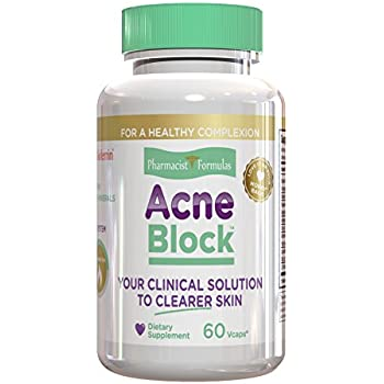 Pharmacist Formulas Acne Block - Natural Blemish, Pimple and Spot Treatment Cure with Clear Skin Vitamins Zinc and Selenium for Hormonal Cystic Solutions, 60 Veggie Capsules