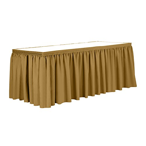 Ultimate Textile 7 ft. Shirred Pleat Polyester Table Skirt Gold ()