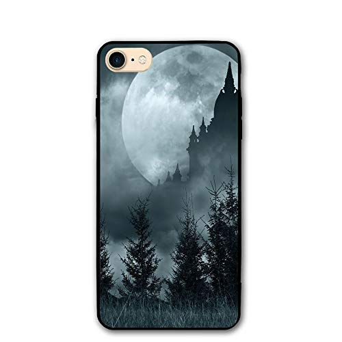 Haixia IPhone 7/8 Protective Case Cover 4.7 Inch Halloween Magic Castle Silhouette Over Full Moon Night Fantasy Landscape Scary Forest Decorative Grey Pale -