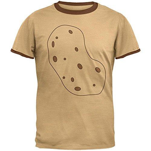 Halloween Vegetable I'm a Potato Costume Mens Ringer T Shirt Tan-Brown MD