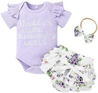 Newborn Baby Girl Outfits Infant Romper Ruffle Onesies Floral Pants Headband Cute Romper Clothes Set Summer Outfits