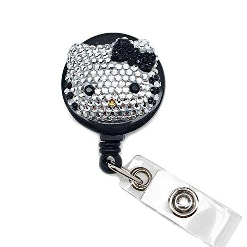 LOVEKITTY Small Hello Kitty Inspired Bling Bling Rhinestone Retractable Badge Reel/Name Badges/ID Badge Holder (BlackBow)