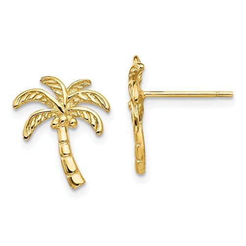 14k Yellow Gold Palm Tree Post Earrings (0.5IN x 0.4IN)