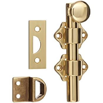 """Rockwood 630-4.3 Solid Brass Surface Bolt with Universal And Mortise Strike, 2 Guide, 4"""" Bolt Length, Brass Polished Clear Coated Finish"""