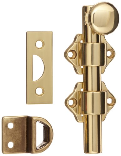 - Rockwood 630-4.3 Solid Brass Surface Bolt with Universal And Mortise Strike, 2 Guide, 4