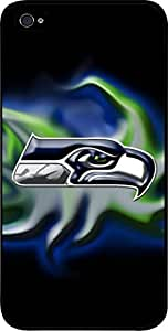 Seahawks-Hard Black Plastic Snap - On Case-Apple Iphone 4 - 4s - Great Quality!