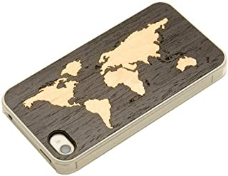 product image for CARVED Ebony Wood Clear Case for iPhone 4/4S - World Map Inlay (CC1-EBWORLD)