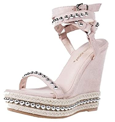 024a2ac4501 SHU CRAZY Womens Ladies Faux Suede Studded High Wedge Heel Chunky ...