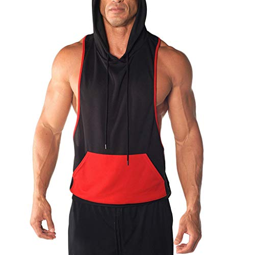 (Mens Gym Hoodie Muscle Fitness Vest,MmNote Workout Athletic Pocket Design Sleeveless Loose Sports No Zip Tank Top Red)