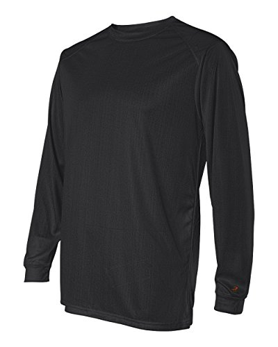 Badger Sportswear Men's B-Dry Long Sleeve Tee, Black, Large