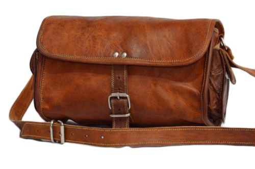 Mad Over Shopping, Vintage handgemachte echtes Leder Schulter Hikinig Kameraobjektive Duffle Tasche