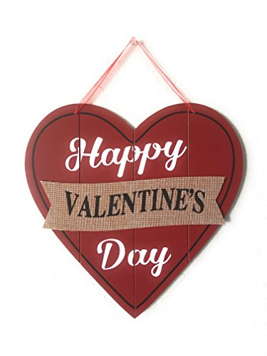Happy Valentine's Day Heart Wooden Wall Decoration, Heart-shaped Red Wood & Burlap Decor, Valentine's Hanging sign Door Decor, Love Plaque Valentine's Day Door Decor, 11.5 x 11.5 in (Original Version) ()