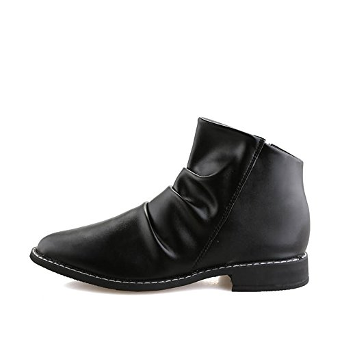 Leather Shoes, Men's Ankle Boots Round Toe Block Heel Pull On Slouch Vamp Oxfords Shoes Black