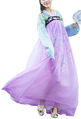 Plaid&Plain Women's Holloween Embroidery Chinese Traditional Dress Party Dress Blue XS (Han Chinese Clothing compare prices)