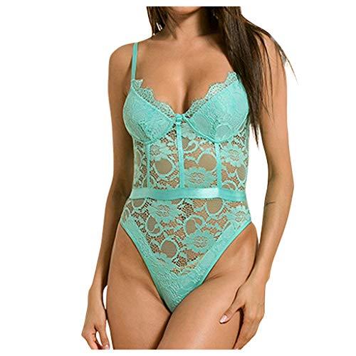 - AMOUSTORE Lingerie for Women Women's Deep V Babydoll Sexy Lace Teddy Bodysuit Chemises Sleepwear Racy Temptation Bodysuit Mint Green