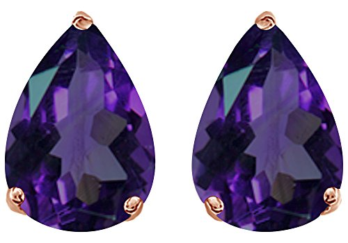 (Simulated Purple Alexandrite Pear Shape Stud Earrings In 14K Rose Gold Over Sterling Silver (3 Ct))